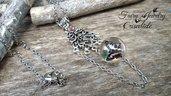 Collana crisalide farfalla sfera fatta a mano acciaio idea regalo bigiotteria bijoux