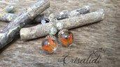 Orecchini farfalle crisalidi arancione sfere monachelle argento 925 bigiotteria gioielli accessori moda