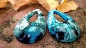 Orecchini goccia fatti a mano in resina con basi acciaio gioielli bigiotteria bijoux accessori moda