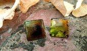 Orecchini quadrati fatti a mano in resina design astratto gioielli accessori bigiotteria artigianale