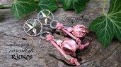 Orecchini sfere fatte a mano resina rosa perni ottone stelle bigiotteria accessori artigianale