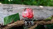 Anello sfera resina fatto a mano goccia ispirata fantasy gioielli accessori moda bigiotteria rosso