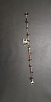 Braccialetto decina rosario con pietre semi preziose e ciondolo