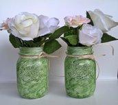 Vasi barattoli shabby decorati verdi