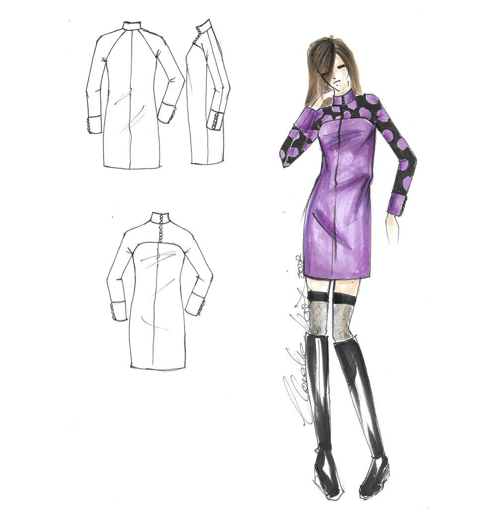 Cartamodello in taglia standard abito a sacchetto manica a martello collo coreano