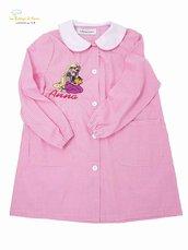 Grembiule asilo da bambina, rosa a quadretti bianchi - Misura: 3 anni