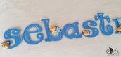 banner name adesivo per cameretta bambini a tema orsetto personalizzato con nome 9 lettere