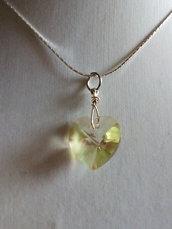 Collana cuore cristallo giallo chiaro