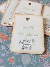 Bigliettini tag matrimonio rettangolari con bordi arrotondati e immagine sposini