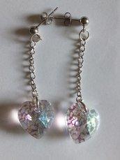 Orecchini pendolo cuore cristallo trasparente