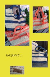 Borsa in rafia fatta a mano crochet made in Italy bybcreazioni