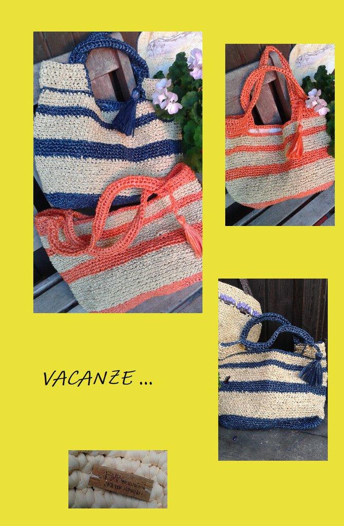 Borsa In Rafia Fatta A Mano Crochet Made In Italy Bybcreazioni D