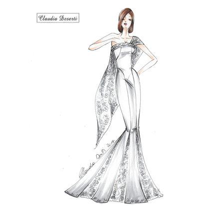 Cartamodello in taglia standard abito da sposa a sirena con pizzo