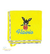 Asciugamano in spugna di cotone Coniglietto Bing - con ricamo del nome - Misure: 50x70 cm