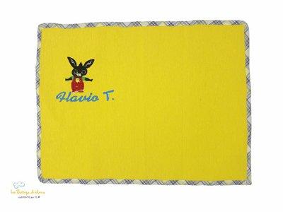 TOVAGLIETTA ALL'AMERICANA gialla - ricamo Coniglietto Bing