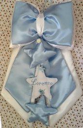 Fiocco nascita azzurro con stelle ricamato a punto croce