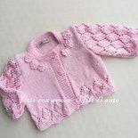 Cardigan / maglia / giacchino /bambina in rosa con fiorellini
