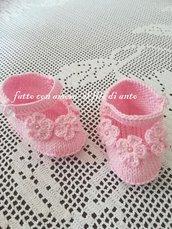 Scarpine bambina rosa con fiorellini