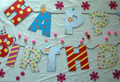 Banner - striscione - auguri - buon compleanno - festa - decorazione fatta a mano - kawaii