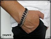 Bracciale unisex, doppia catena nero / argento