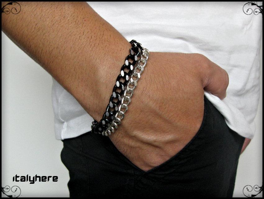 Bracciale doppia catena in maglia gourmet, nera diamantata e argento laminata, idea regalo - Italyhere
