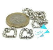 8 charms (ciondoli) argento tibetano a cuore