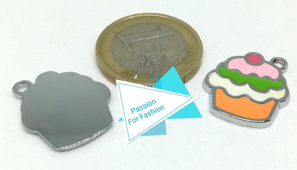Charm in metallo smaltato coppetta gelato - Materiali ...