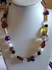 Collana corta perle multicolore
