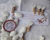10 mollettine  legno chiudipacco, per bustine confettata  o per mantenere tag con cuore in legno
