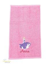 Asciugamano in spugna di cotone color rosa, con ricamo Cenerentola personalizzato con nome - Misure: 50 x 30 cm