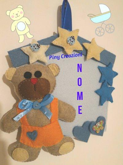 Fiocco nascita azzurro  orsetto coccarda celeste fuoriporta con inserimento nome