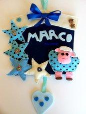 Fiocco nascita fuoriporta azzurro con stelline e pecorella