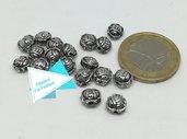 18 perle spaziatrici a forma di rosa, argento tibetano