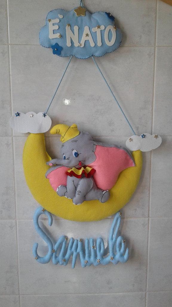 Fiocco nascita Dumbo, fiocco nascita, coccarda nascita, ghirlanda nascita, cicogna nascita, fiocco di nascita, fiocco nascita luna, personalizzabile, regalo nascita, regalo,  premamam