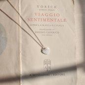 Collana girocollo in Argento rosé con cuore in madreperle - Gioielli moda - Collana cuore - Choker - regalo - idea regalo - Gioielli delicati