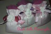 Bomboniera bimba nascita battesimo sacchetto con gessetto profumato angioletto cuore fiore