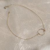 Collana argento 925 minimal argento dorato - Gioielli delicati minimal chic - Idea regalo - Oro argento rosé - Girocollo choker - Senza nichel