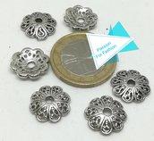 6 cappe per pietre grandi, argento tibetano
