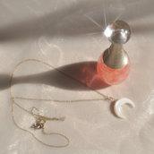 Collana luna crescente argento 925 minimal argento dorato - Gioielli delicati minimal chic - Idea regalo - Oro argento 925 - Moda tendenza- Senza nichel