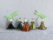 Angioletti con cialde, 5pz, ornamenti natalizi, palline natalizie, decorazioni natale, riciclato, cialde del caffè, ornamenti natale, angeli di perle, decorazione albero di natale