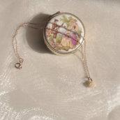 Collana argento 925 minimal argento oro rosé con rosellina in corallo naturale - Gioielli delicati minimal chic - Idea regalo - Oro argento rosé - Girocollo choker - Senza nichel