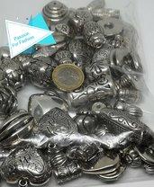 170 gr di perle argento tibetano di medie e grandi dimensioni, mix