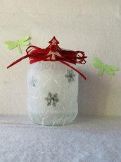 Lanterna Natalizia, lucina notturna, fiocchi di neve, albero di natale, luce, punto luce, natalizio, decorazione, riciclato, made in italy, decorazione natale