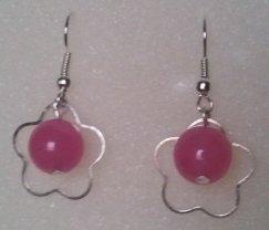 Orecchini con fiore e Agata rosa