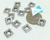 2 connettori quadrati, argento tibetano PFF047