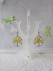 Orecchini, Albero della Vita, vetro giallo, portafortuna, orecchini pendenti,luminosi,orecchini con monachella aperta, orecchini anallergici