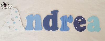 banner name decorazione cameretta adesiva 6 lettere ANDREA in scala di blu