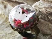 Anello terrarium, anello mini fairy garden, anello ottone, anello regolabile, gioiello elfico, anello elfico, made in italy, regalo amante natura, regalo nerd, anello amante fantasy