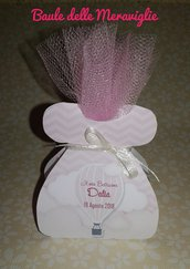 Bomboniera segnaposto bimba nascita battesimo scatolina vestitino porta confetti tema mongolfiera
