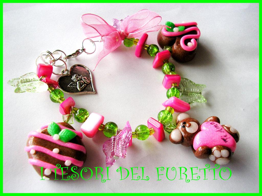 Bracciale FUFULOVE fimo cernit orsetto dolcetto cioccolatini idea regalo s.valentino